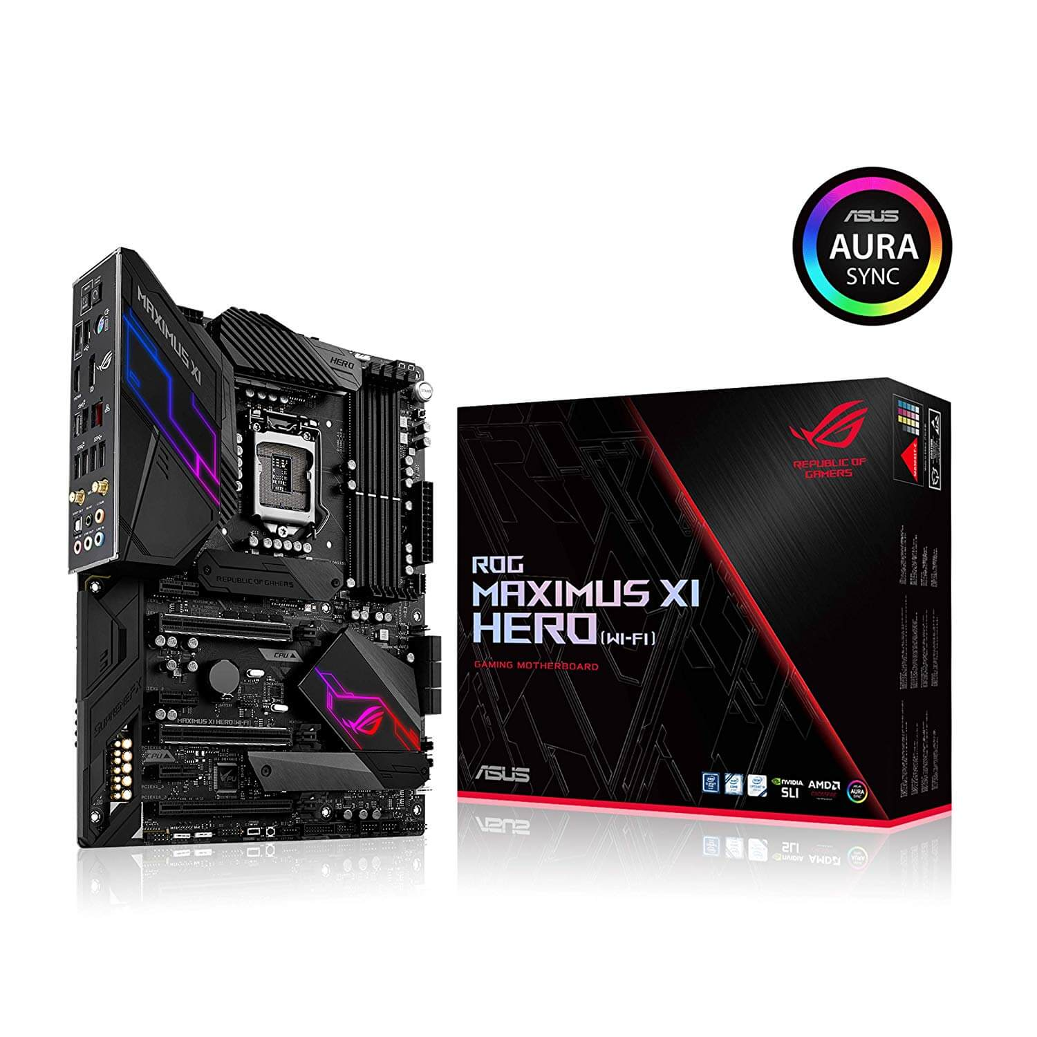 ASUS ROG Maximus XI Hero, HDMI, SLI & X-Fire, USB 3.1 Gen2, USB C, AC WiFi+Bluetooth