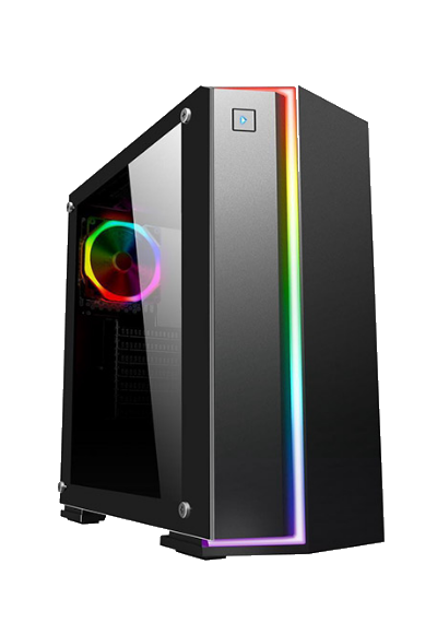DIYPC Rainbow-Flash-V2 RGB Black Tempered Glass, front USB 3.0 & 2.0 (no DVD bay)