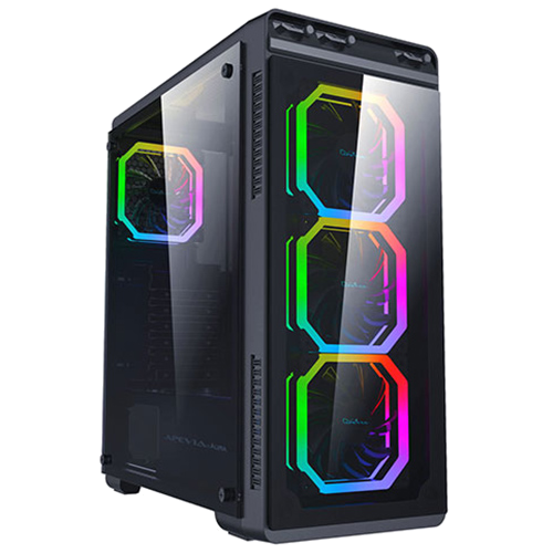 APEVIA Aura Phonex RGB, Tempered Glass Front & Side Window, USB 2.0 & 3.0 (no DVD bay)