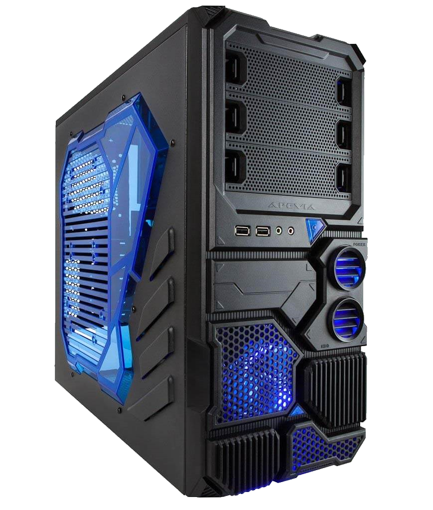 Apevia Sniper 2 Black and Blue, side window, front USB 3.0