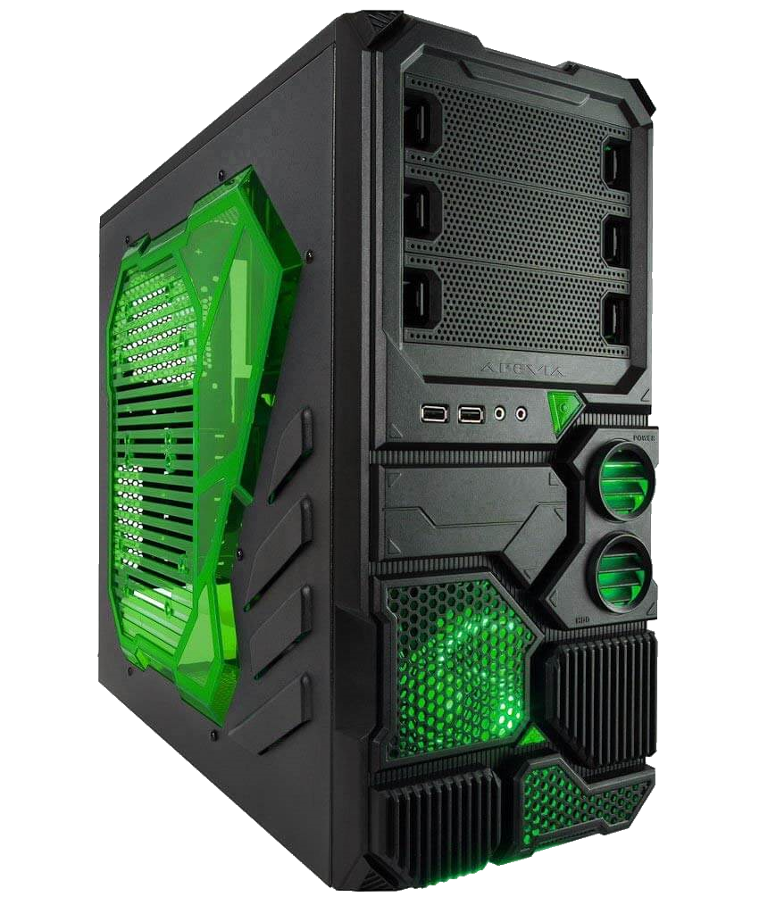 Apevia Sniper 2 Black and Green, front USB 3.0